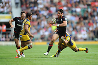 Sean Maitland of Saracens is tackled during the Aviva Premiership Rugby match between Saracens and Worcester Warriors at Twickenham Stadium on Saturday 03 September 2016 (Photo by Rob Munro/Stewart Communications)