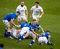 13th February 2021; Twickenham, London, England; International Rugby, Six Nations, England versus Italy; Ben Youngs of England passes the ball