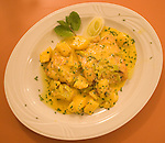 Chicken and Pasta Entree, Le Campagne Restaurant, Florence, Tuscany, Italy