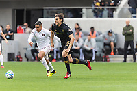 LOS ANGELES, CA - MARCH 01: Victor Ulloa #13 of Inter Miami CF and Dejan Jakovic #5 of LAFC battle for the ball during a game between Inter Miami CF and Los Angeles FC at Banc of California Stadium on March 01, 2020 in Los Angeles, California.