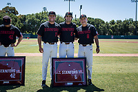 STANFORD, CA - MAY 29: Senior Zach Sehgal, David Esquer, Grant Burton before a game between Oregon State University and Stanford Baseball at Sunken Diamond on May 29, 2021 in Stanford, California.