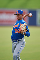 GCL Mets pitcher Matt Cleveland (56) warms up in the outfield before the first game of a doubleheader against the GCL Nationals on July 22, 2017 at The Ballpark of the Palm Beaches in Palm Beach, Florida.  GCL Mets defeated the GCL Nationals 1-0 in a seven inning game that originally started on July 17th.  (Mike Janes/Four Seam Images)