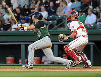 Shortstop John Eshleman (29) of the Augusta GreenJackets, a San Francisco Giants affiliate, in a game against the Greenville Drive on April 19, 2012, at Fluor Field at the West End in Greenville, South Carolina. (Tom Priddy/Four Seam Images)
