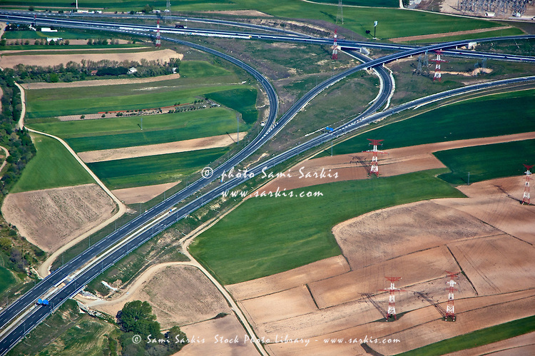 Highways running through the Seville countryside, as seen from an airplane, Seville, Andalusia, Spain.
