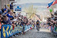 Philippe Gilbert (BEL/Quick Step floors) solo up the Oude Kwaremont<br /> <br /> 101th Ronde Van Vlaanderen 2017 (1.UWT)<br /> 1day race: Antwerp › Oudenaarde - BEL (260km)