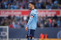 BRONX, New York - Saturday, April 29, 2018: New York City FC takes on FC Dallas at home at Yankee Stadium during the 2018 MLS regular season.