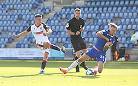 Bolton Wanderers' Tom White sees his shot blocked by Colchester United's Ben Stevenson<br /> <br /> Photographer Rob Newell/CameraSport<br /> <br /> The EFL Sky Bet League Two - Colchester United v Bolton Wanderers - Saturday 19th September 2020 - Colchester Community Stadium - Colchester<br /> <br /> World Copyright © 2020 CameraSport. All rights reserved. 43 Linden Ave. Countesthorpe. Leicester. England. LE8 5PG - Tel: +44 (0) 116 277 4147 - admin@camerasport.com - www.camerasport.com