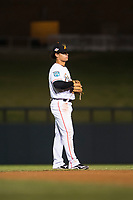 Salt River Rafters shortstop Bryson Brigman (15), of the Miami Marlins organization, during an Arizona Fall League game against the Scottsdale Scorpions at Salt River Fields at Talking Stick on October 11, 2018 in Scottsdale, Arizona. Salt River defeated Scottsdale 7-6. (Zachary Lucy/Four Seam Images)
