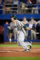 Siena Saints left fielder Jonathan Crimmin (16) at bat during a game against the Florida Gators on February 16, 2018 at Alfred A. McKethan Stadium in Gainesville, Florida.  Florida defeated Siena 7-1.  (Mike Janes/Four Seam Images)