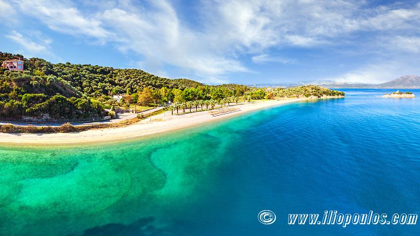 The small island Monastiri at the beach Nisiotissa in Evia island, Greece