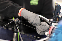 Pictured: Spokes and rims get assembled Monday 15 August 2016<br />Re: Frog Bikes in Mamhilad Estate Park in Pontypool, Wales, UK