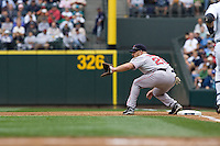 July 23, 2008:  The Boston Red Sox's Kevin Youkilis playing first base against the Seattle Mariners at Safeco Field in Seattle, Washington.