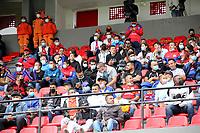 PASTO - COLOMBIA, 05-09-2021: Hinchas de Deportivo Pasto animan a su equipo durante partido entre Deportivo Pasto y Deportivo Cali de la fecha 8 por la Liga BetPlay DIMAYOR II 2021 jugado en el estadio Departamental Libertad de la ciudad de Pasto. / Fans of Deportivo Pasto during a match of the 8th date between Deportivo Pasto and Deportivo Cali for the BetPlay DIMAYOR II 2021 League played at the Departamental Libertad Stadium in Pasto city. / Photo: VizzorImage / Leonardo Castro / Cont.