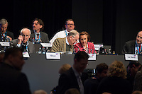 """5. Bundesparteitag der rechtspopulistischen Partei """"Alternative fuer Deutschland"""", AfD, in Stuttgart.<br /> Die Partei will auf dem Parteitag ein Parteiprogramm beschliessen.<br /> Im Bild vlnr.: Albrecht Glaser, AfD-Kandidat zur Wahl des Bundespraesidenten. Der stellvertretende AfD-Sprecher Glaser ist ehemaliges CDU-Mitglied und war als Stadtkaemmerer in Frankfurt verwickelt in umstrittene Fondgeschaefte; Alexander Gauland, stellvertretender Parteivorsitzender und Fraktionsvorsitzender der AfD im Brandenburgischen Landtag und Beatrix Amelie Ehrengard Eilika von Storch, Europaabgeordnete und stellvertretende Parteivorsitzende.<br /> 30.4.2016, Stuttgart<br /> Copyright: Christian-Ditsch.de<br /> [Inhaltsveraendernde Manipulation des Fotos nur nach ausdruecklicher Genehmigung des Fotografen. Vereinbarungen ueber Abtretung von Persoenlichkeitsrechten/Model Release der abgebildeten Person/Personen liegen nicht vor. NO MODEL RELEASE! Nur fuer Redaktionelle Zwecke. Don't publish without copyright Christian-Ditsch.de, Veroeffentlichung nur mit Fotografennennung, sowie gegen Honorar, MwSt. und Beleg. Konto: I N G - D i B a, IBAN DE58500105175400192269, BIC INGDDEFFXXX, Kontakt: post@christian-ditsch.de<br /> Bei der Bearbeitung der Dateiinformationen darf die Urheberkennzeichnung in den EXIF- und  IPTC-Daten nicht entfernt werden, diese sind in digitalen Medien nach §95c UrhG rechtlich geschuetzt. Der Urhebervermerk wird gemaess §13 UrhG verlangt.]"""