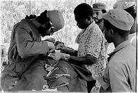 Cuban doctor and Guinean nurse perform Surgery in Sara , Guinea-Bissau,  1974