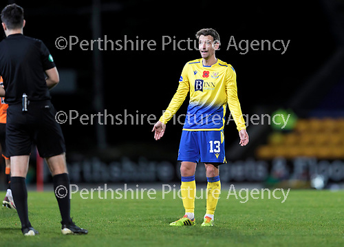 St Johnstone v Dundee United…10.11.20   McDiarmid Park      BetFred Cup<br />Craig Bryson appeals to referee Don Robertson after concedin g a handball<br />Picture by Graeme Hart.<br />Copyright Perthshire Picture Agency<br />Tel: 01738 623350  Mobile: 07990 594431