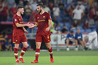 12th September 2021; Olimpico Stadium, Rome, Italy; Serie A championship football, AS Roma versus US Sassulo ; Bryan Cristante jubilates after scoring the goal for 1-0