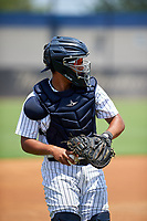 GCL Yankees West catcher Carlos Narvaez (14) on the side field during the second game of a doubleheader against the GCL Yankees East on July 19, 2017 at the Yankees Minor League Complex in Tampa, Florida.  GCL Yankees West defeated the GCL Yankees East 3-1.  (Mike Janes/Four Seam Images)