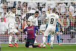 (L-R) Real Madrid CF's Carlos Henrique Casemiro, Raphael Varane, Toni Kroos  and FC Barcelona's Luis Suarez during La Liga match. March 02,2019. (ALTERPHOTOS/Alconada)