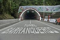 "LA LINEA - COLOMBIA, 29-08-2020: Túnel Barranqueros. El túnel principal ""La Línea"" tiene una longitud de  8,65 km y hace parte de El Túnel de La Línea el proyecto de infraestructura vial más importnate de Colombia que está es fase final de construcción conectará de manera eficiente los departamentos colombianos de Quindío y Tolima. El plan además consta de 24 puentes y 20 túneles de diferentes longitudes. / Barranqueros Tunnel. The main tunnel ""La Línea"" has a length of 8.65 km and is part of El Túnel de La Línea, the most important road infrastructure project in Colombia, which is in the final phase of construction and will efficiently connect the Colombian departments of Quindío and Tolima. The plan also consists of 24 bridges and 20 tunnels of different lengths. Photo: VizzorImage / Gabriel Aponte / Staff"