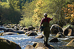 Fly fishing on the North Fork of the Middle Fork of the Willamette River; Willamette National Forest, Cascade Mountains, Oregon..#0510306