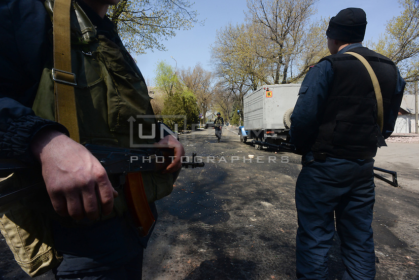 Ukrainian soldiers in the Military base of Mariupol guarding the perimeter of the base after the attempt of armed assault by pro-russian activists