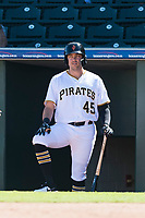 Surprise Saguaros first baseman Will Craig (45), of the Pittsburgh Pirates organization, in the dugout during an Arizona Fall League game against the Peoria Javelinas at Surprise Stadium on October 17, 2018 in Surprise, Arizona. (Zachary Lucy/Four Seam Images)