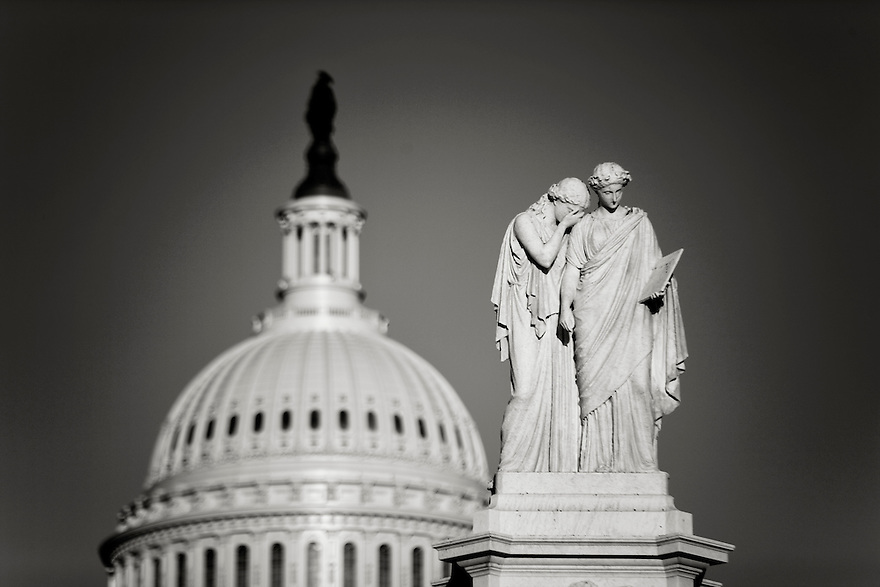 After a prolonged national debt stalemate with continues partisan battles, and the fear of another recession, a mode of dome hangs over The United States Capitol at sunset in Washington.