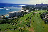 Aerial of the Kahala Mandarin Oriental hotel and surrounding golf course, Island of Oahu