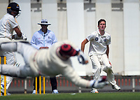 Will Williams reacts as Cam Fletcher fails to hold a ball off Rachin Ravindra during day three of the Plunket Shield match between the Wellington Firebirds and Canterbury at Basin Reserve in Wellington, New Zealand on Wednesday, 21 October 2020. Photo: Dave Lintott / lintottphoto.co.nz