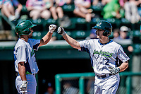 19 July 2018: Vermont Lake Monsters infielder Jonah Bride comes home to score the first run of the game in the bottom of the first inning against the Staten Island Yankees at Centennial Field in Burlington, Vermont. The Lake Monsters took the game with a 2-1, 9th inning walk-off win over the Yankees in NY Penn League action. Mandatory Credit: Ed Wolfstein Photo *** RAW (NEF) Image File Available ***