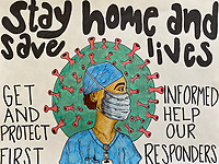 """Stay Home and Save Lives"" Drawing by Sadie Gallant, Grade 11, Yarmouth, ME, USA"