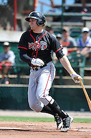 Mitch Nay #21 of the Lansing Lugnuts swings against the Burlington Bees at Community Field on July 27, 2014 in Burlington, Iowa. The Lugnuts won 3-2.   (Dennis Hubbard/Four Seam Images)