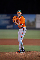 Miami Hurricanes pitcher Andrew Walters (21) during an NCAA game against the Florida Gulf Coast Eagles on March 17, 2021 at the Swanson Stadium in Fort Myers, Florida.  (Mike Janes/Four Seam Images)