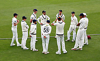 Acting Kent captain Heino Kuhn (C - hands on hips) addresses his makeshift team prior to the start of Kent CCC vs Sussex CCC, LV Insurance County Championship Group 3 Cricket at The Spitfire Ground on 11th July 2021