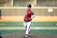Louisville Cardinals relief pitcher Sam Bordner (13) in action against the Wake Forest Demon Deacons at David F. Couch Ballpark on March 17, 2018 in  Winston-Salem, North Carolina.  The Cardinals defeated the Demon Deacons 11-6.  (Brian Westerholt/Four Seam Images)