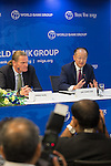 23 July 2014, New Delhi, India: President of the World Bank, Mr Jim Yong Kim addresses a press conference , flanked Country Director Onno Ruhl,  on issues and projects being undertaken by the World Bank during his visit to India and his discussions with Prime Minister Modi. Picture by Graham Crouch/World Bank