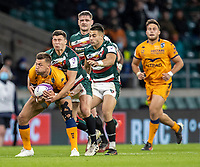21st May 2021; Twickenham, London, England; European Rugby Challenge Cup Final, Leicester Tigers versus Montpellier; Ben Youngs of Leicester Tigers tackles Corbus Reinach of Montpellier Rugby