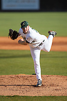 Charlotte 49ers starting pitcher Sean Geoghegan (24) follows through on his delivery against the Florida Atlantic Owls at Hayes Stadium on March 14, 2015 in Charlotte, North Carolina.  The Owls defeated the 49ers 8-3 in game one of a double header.  (Brian Westerholt/Four Seam Images)