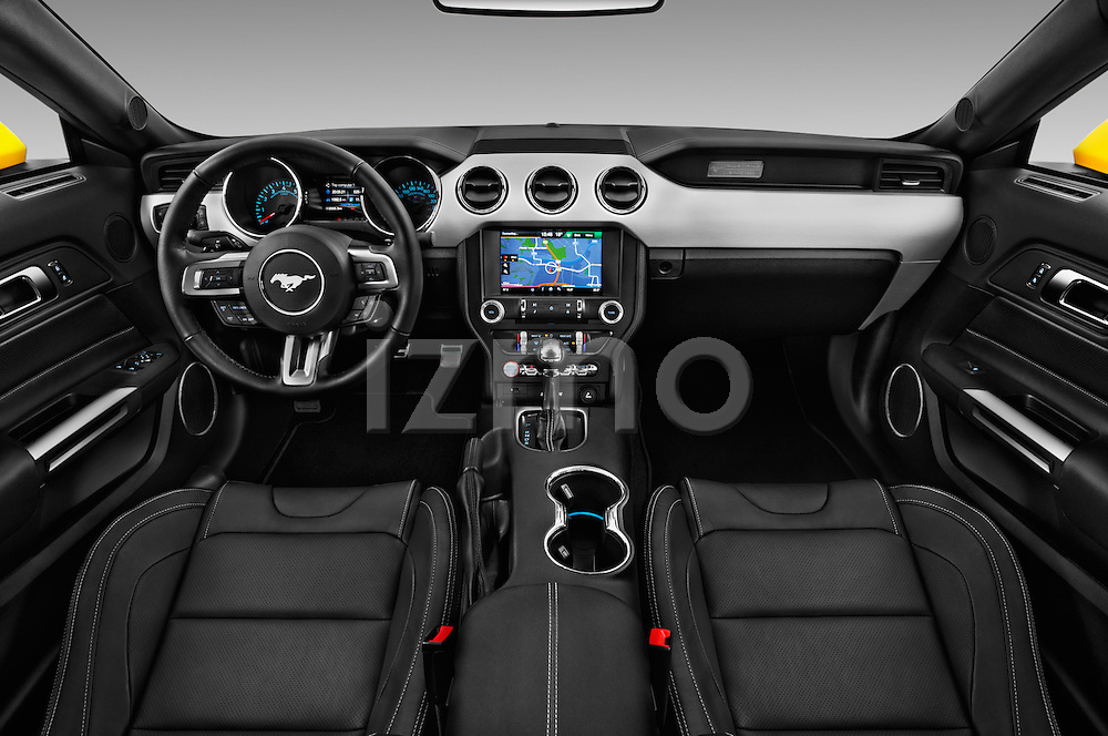 Stock photo of straight dashboard view of 2016 Ford Mustang EcoBoost 2 Door Coupe Dashboard