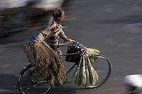 Asie/Inde/Rajasthan/Jaipur: Marchand ambulant  de balais près de la Porte Tripolia