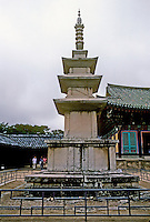 So. Korea: Kyong-Ju--Stone pagoda, ninth century at Bulgug-sa Temple. Photo '81.