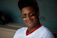 Auburn Doubledays Landerson Pena (30) in the dugout during a NY-Penn League game against the West Virginia Black Bears on August 23, 2019 at Falcon Park in Auburn, New York.  West Virginia defeated Auburn 8-1, the first game of a doubleheader.  (Mike Janes/Four Seam Images)