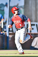 Hagerstown Suns right fielder Rhett Wiseman (8) runs towards home plate during a game against the Asheville Tourists at McCormick Field on June 8, 2016 in Asheville, North Carolina. The Tourists defeated the Suns 10-8. (Tony Farlow/Four Seam Images)