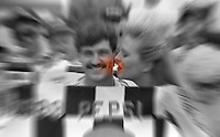 Davey Allison 1st place winner victory lane beauty queen kiss zoom blur art Pepsi 400 at Daytona International Speedway in Daytona beach, FL on July 1, 1989. (Photo by Brian Cleary/www.bcpix.com)