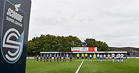 both teams pictured entering the pitch ahead of a female soccer game between Club Brugge Dames YLA and KRC Genk on the fifth matchday of the 2021 - 2022 season of Belgian Scooore Womens Super League , saturday 2 october 2021 in Aalter , Belgium . PHOTO SPORTPIX   DAVID CATRY