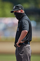 Umpire Lane Cullipher during the minor league baseball game between the Down East Wood Ducks and the Kannapolis Cannon Ballers at Atrium Health Ballpark on May 9, 2021 in Kannapolis, North Carolina. (Brian Westerholt/Four Seam Images)