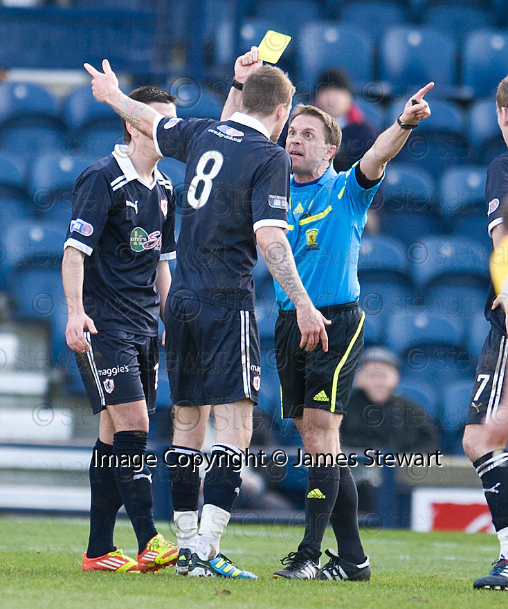 IAIN DAVIDSON IS BOOKED AFTER PROTESTING ABOUT PAT CLARKES SHOT BEING BLOCKED