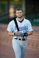 Pensacola Blue Wahoos Devin Mesoraco (39) warms up before a game against the Mobile BayBears on April 25, 2017 at Hank Aaron Stadium in Mobile, Alabama.  Mobile defeated Pensacola 3-0.  (Mike Janes/Four Seam Images)
