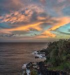 A sunrise seen from behind Pali Ke Kua, in Princeville on the north shore of Kauai.